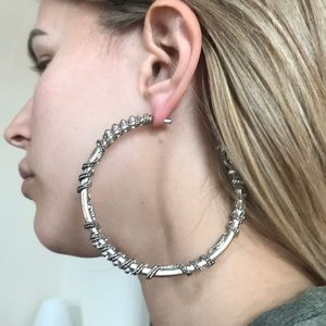 Bebe roped silver hoop earrings